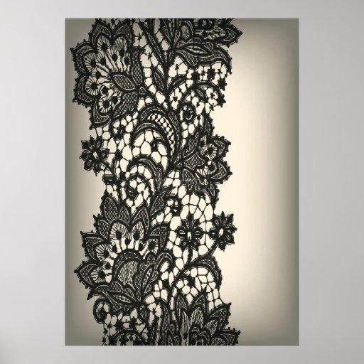 ntage black Lace beige Paris Fashion Poster