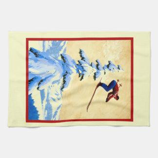 ntage ski poster, ski jumper tea towel