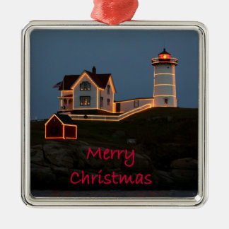 Nubble Light Christmas Silver-Colored Square Decoration