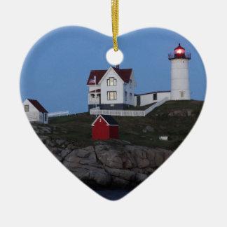 Nubble Lighthouse at Night Ceramic Heart Decoration