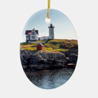 Nubble Lighthouse Ceramic Oval Decoration