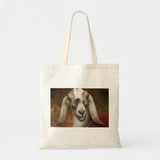 Nubian Dairy Goat Doe White Stripe Caprine Budget Tote Bag
