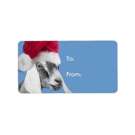 Nubian Goat  Santa Goat Christmas Gift Tag