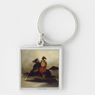 Nubian Horseman at the Gallop Silver-Colored Square Key Ring