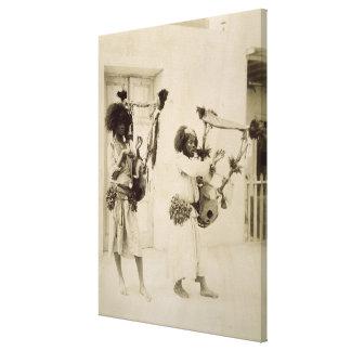 Nubian Musicians (sepia photo) Canvas Print