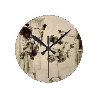 Nubian Musicians (sepia photo) Round Clock