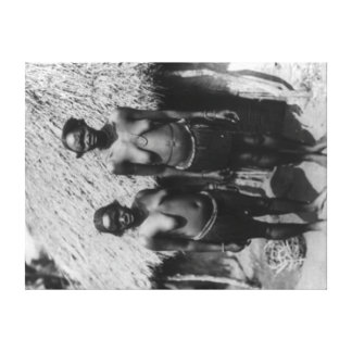 Nubian Women Standing in front of Hut Photograph Canvas Print