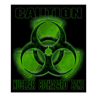 Nuclear Biohazard Caution Sign Poster