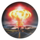 Nuclear explosion mushroom cloud illustration plate