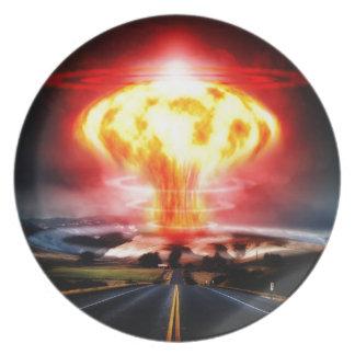 Nuclear explosion mushroom cloud illustration plate