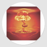 Nuclear explosion mushroom cloud round stickers