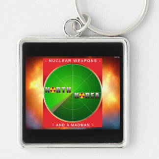 Nuclear North Korea Silver-Colored Square Key Ring