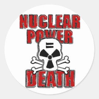 Nuclear Power Equals Death Round Sticker