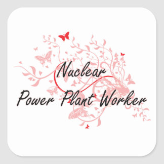 Nuclear Power Plant Worker Artistic Job Design wit Square Sticker