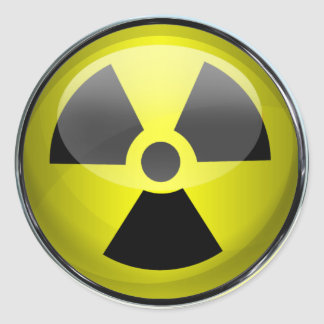 Nuclear Radiation Symbol Radioactive Warning Sign Round Sticker