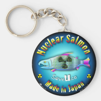 Nuclear Salmon blue Basic Round Button Key Ring