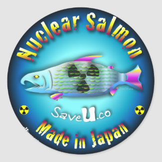 Nuclear Salmon blue Round Stickers