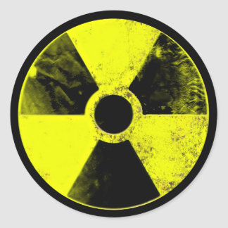 nuclear sign classic round sticker