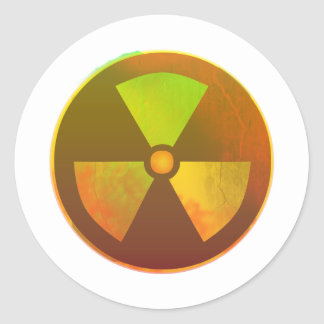 Nuclear Symbol Radioactive Glow Round Sticker