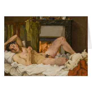 Nude at Rest With Dog Card