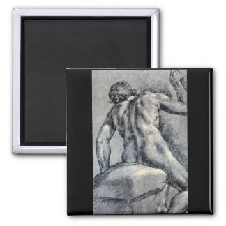 Nude Man, Seen From_Studies of the Masters Square Magnet