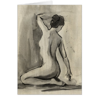 Nude Sketch of Female Body by Ethan Harper Greeting Card