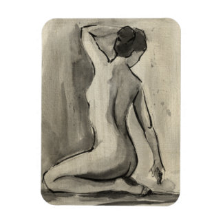 Nude Sketch of Female Body by Ethan Harper Rectangular Photo Magnet