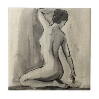 Nude Sketch of Female Body by Ethan Harper Small Square Tile