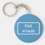 Nudism Allowed Sign, Germany Basic Round Button Key Ring