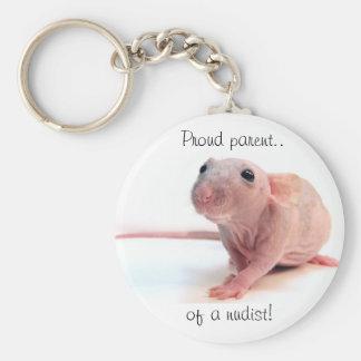 Nudist Rat Basic Round Button Key Ring