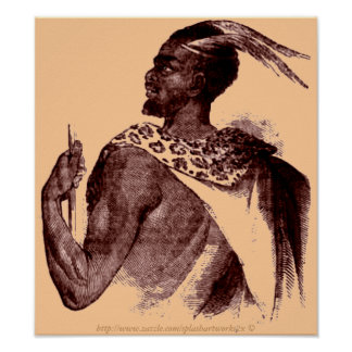 Nuer Chief -1850-Ethiopian African in battle Poster