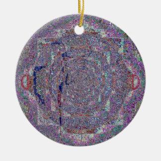 Nuetral Abstract Sparkling Digital Art Round Ceramic Decoration