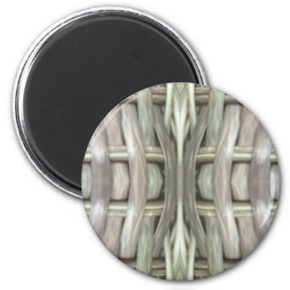 Nuetral Gray Toned Weave Pattern 6 Cm Round Magnet