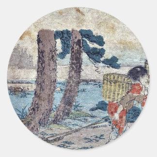 Numazu  by Katsushika, Hokusai Ukiyoe Round Stickers