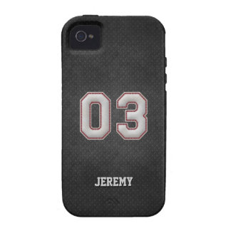 Number 03 Baseball Stitches with Black Metal Look Case-Mate iPhone 4 Cases