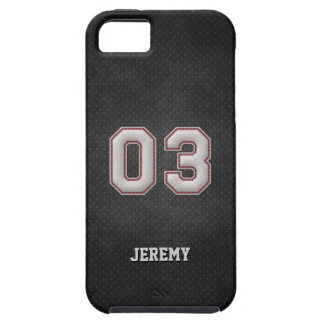 Number 03 Baseball Stitches with Black Metal Look iPhone 5 Case