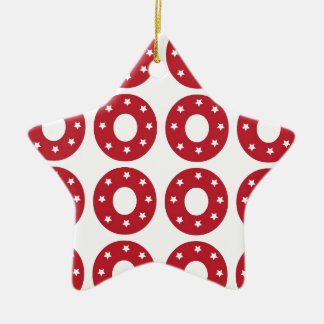 Number 0 - White Stars on Dark Red Ceramic Star Decoration