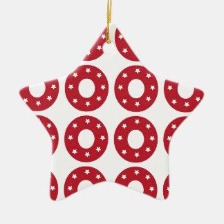 Number 0 - White Stars on Dark Red Christmas Ornament