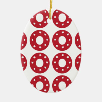 Number 0 - White Stars on Dark Red Christmas Ornament
