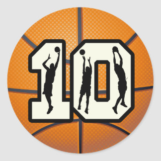Number 10 Basketball and Players Round Sticker