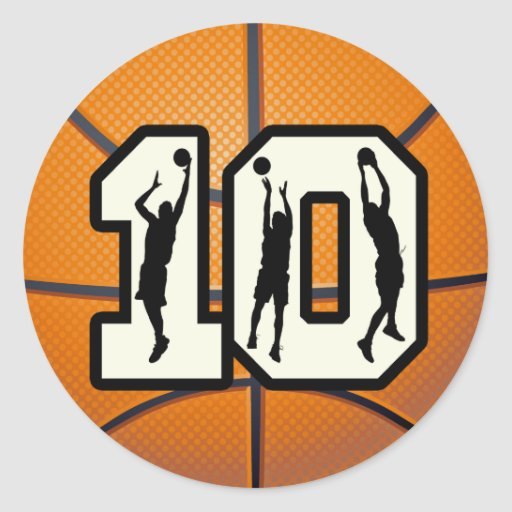Number 10 Basketball and Players Stickers