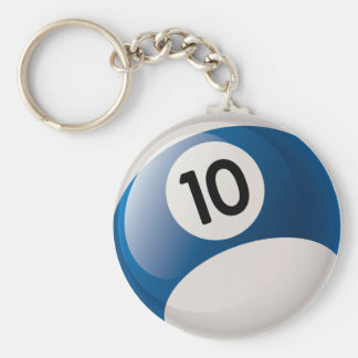 NUMBER 10 BILLIARDS BALL BASIC ROUND BUTTON KEY RING