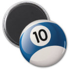 NUMBER 10 BILLIARDS BALL MAGNET