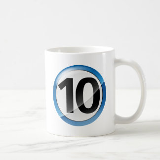 Number 10 blue coffee mug