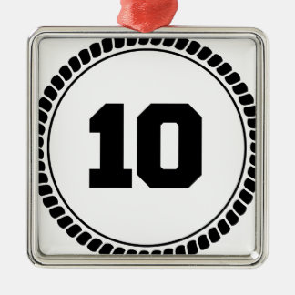 Number 10 circle christmas ornament