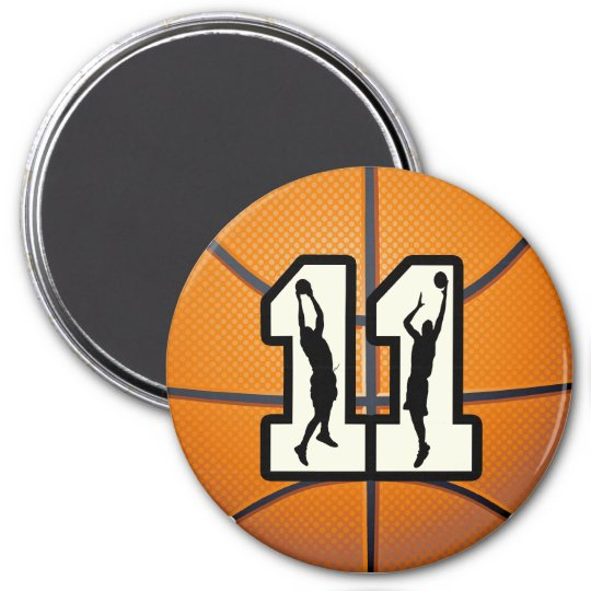 Number 11 Basketball and Players 7.5 Cm Round Magnet