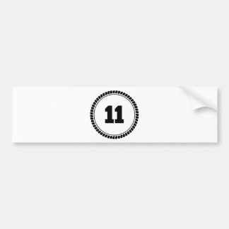 Number 11 Circle Bumper Sticker