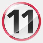 Number 11  red sticker