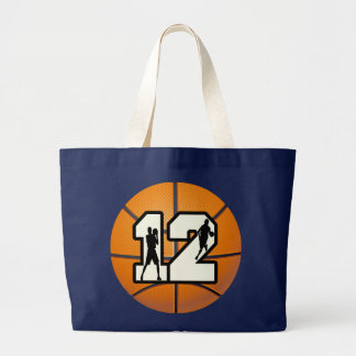 Number 12 Basketball and Players Large Tote Bag