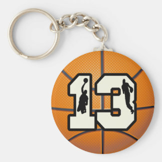 Number 13 Basketball and Players Basic Round Button Key Ring